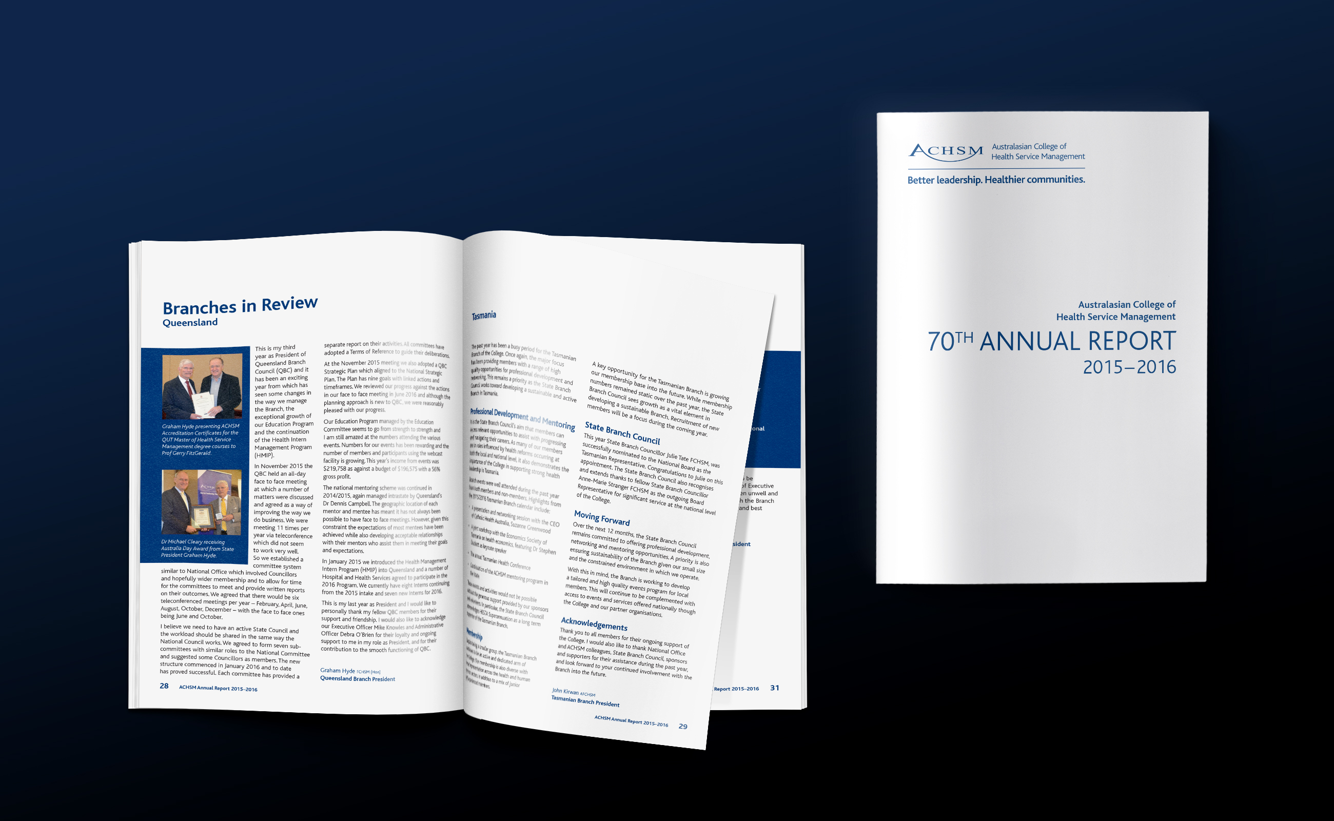 ACHSM annual report inside and cover