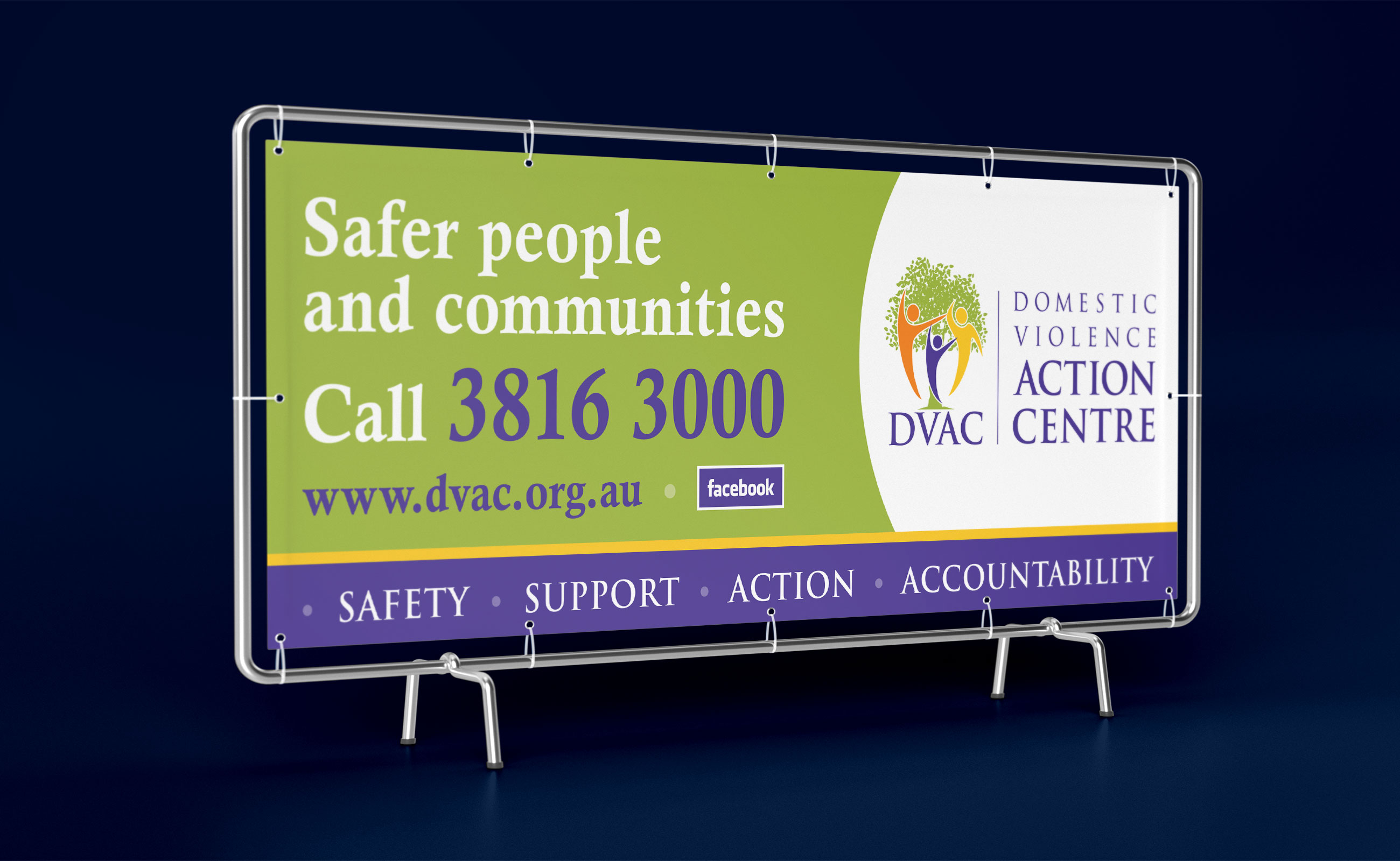 A vinyl banner for DVAC which says Safer people and communities - call 3816 3000