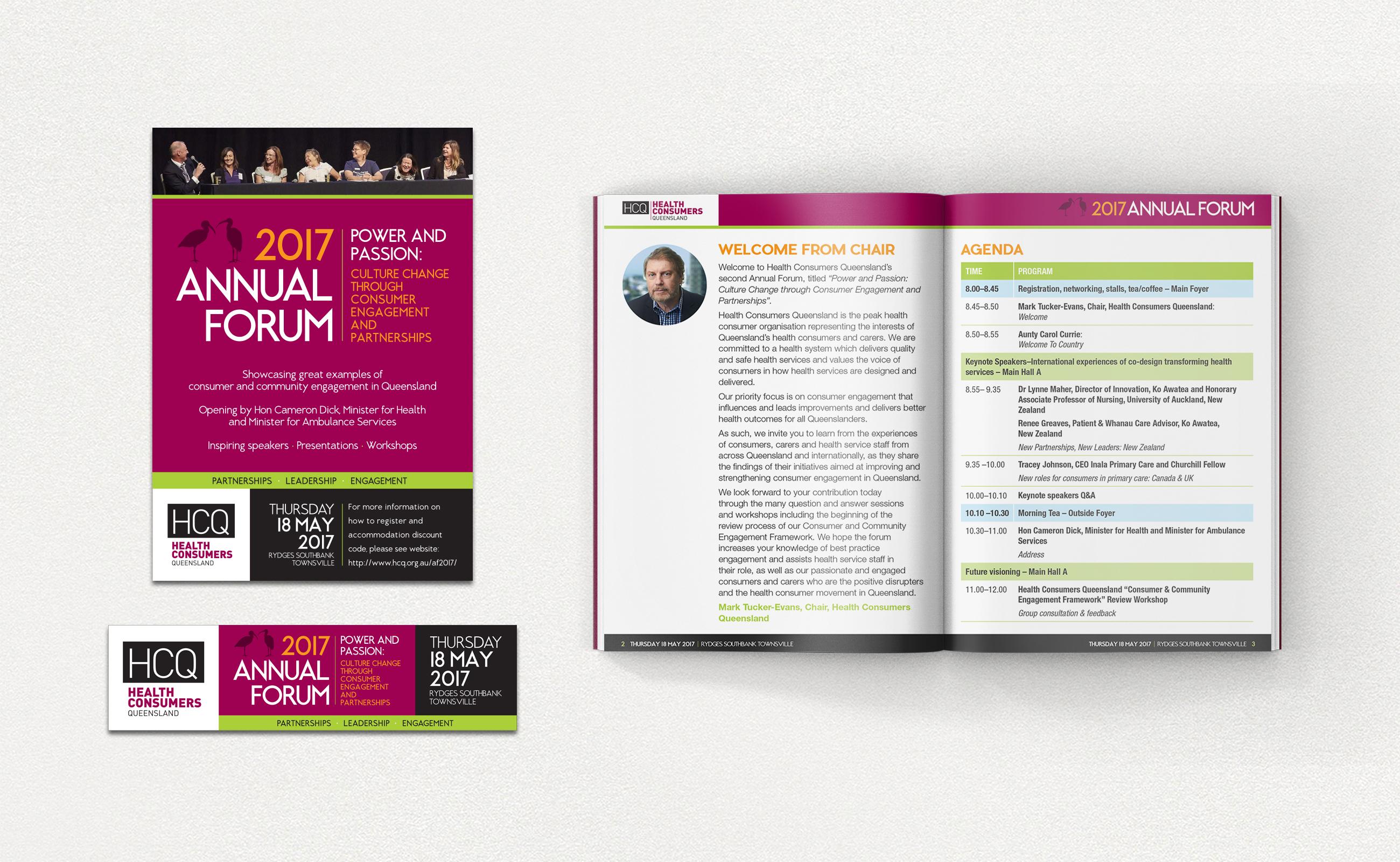 HCQ forum material: flyer, banner and program