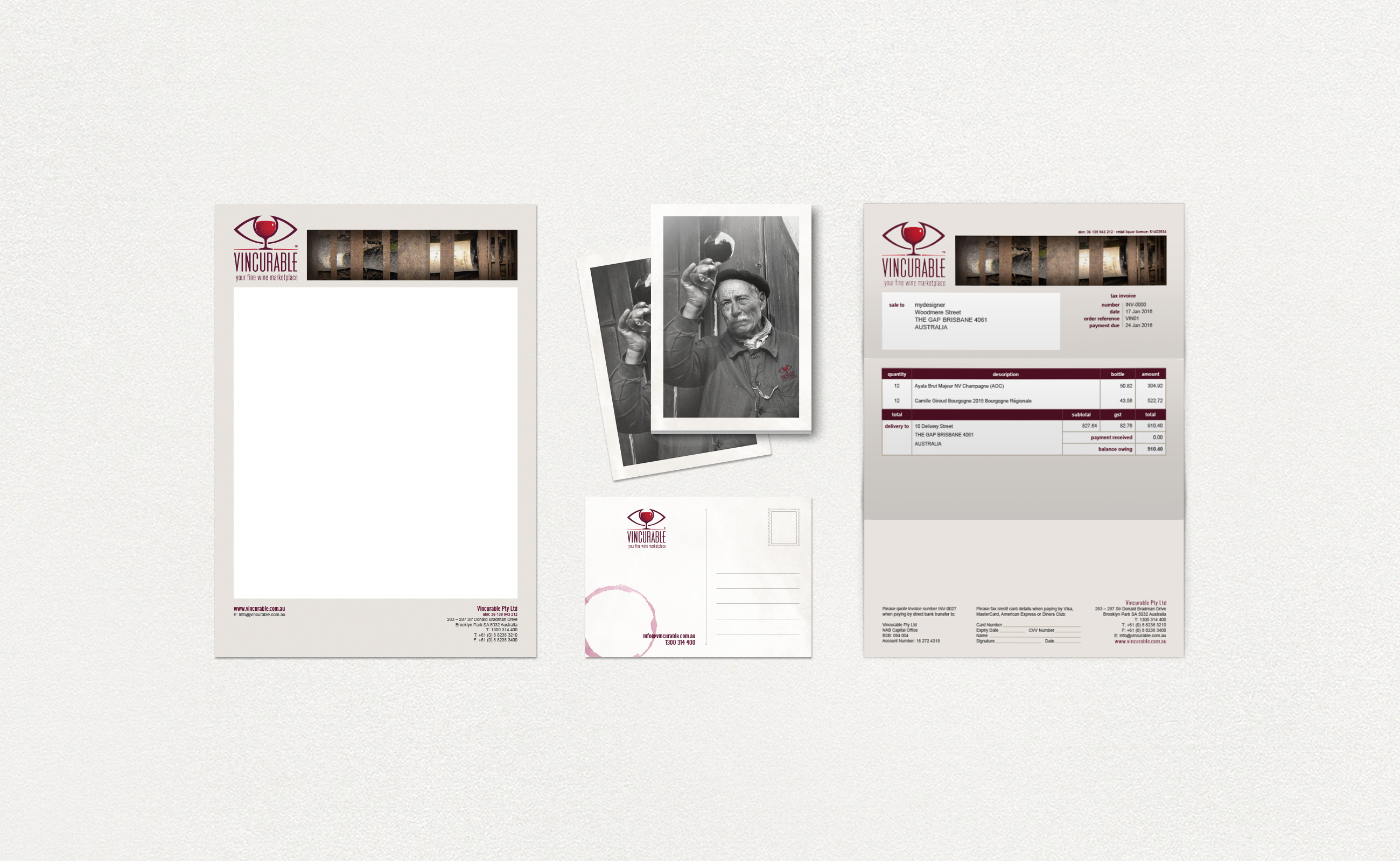 Vincurable stationery letterhead, postcards and invoice