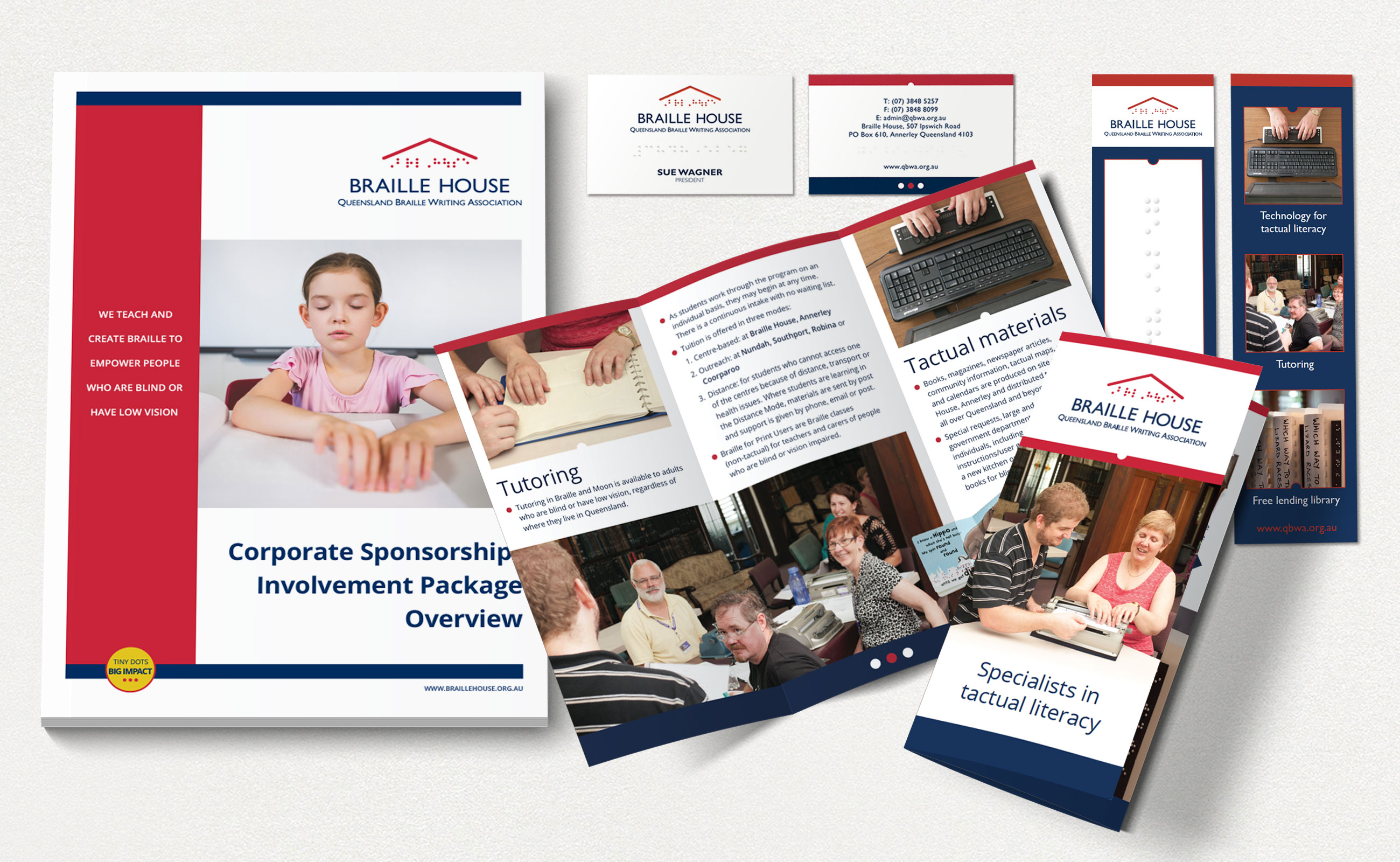 Braille House stationery Corporate Sponsorship Involvement Package, brochures, bookmarks and business cards