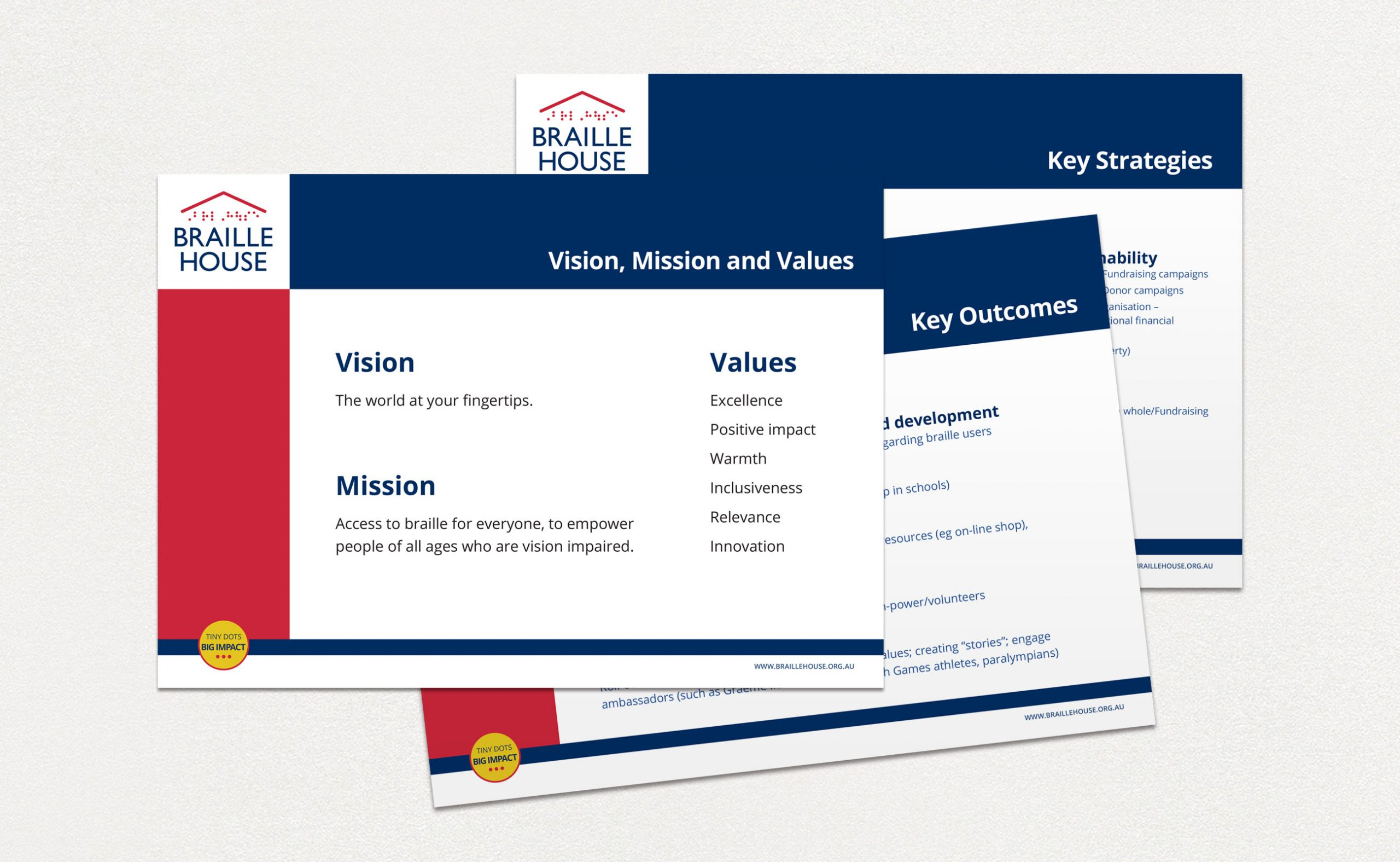 Braille House documents with Vision, Mission and Values, Key Goals and Outcomes