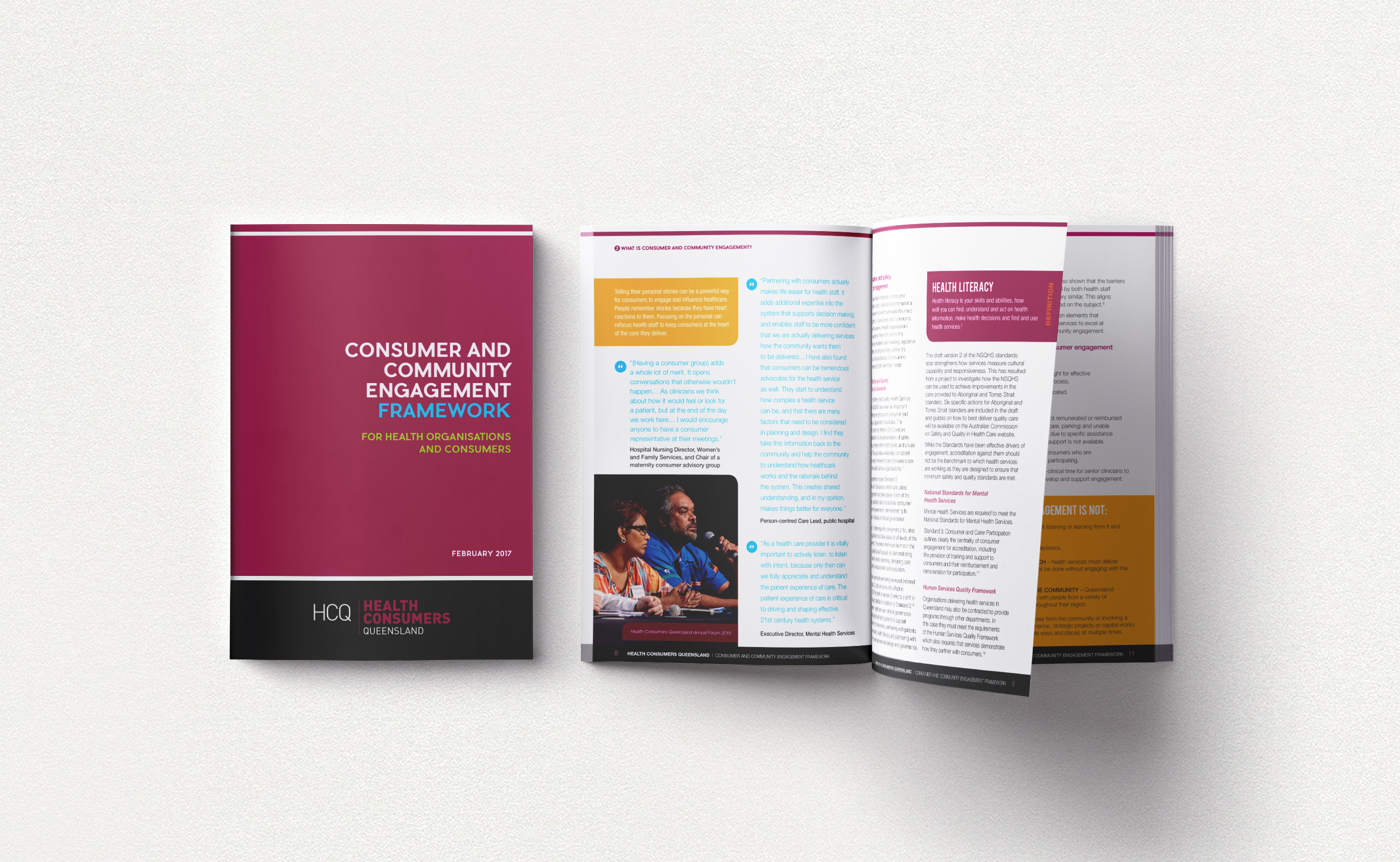 Consumer and Community Engagement Framework, cover and inside