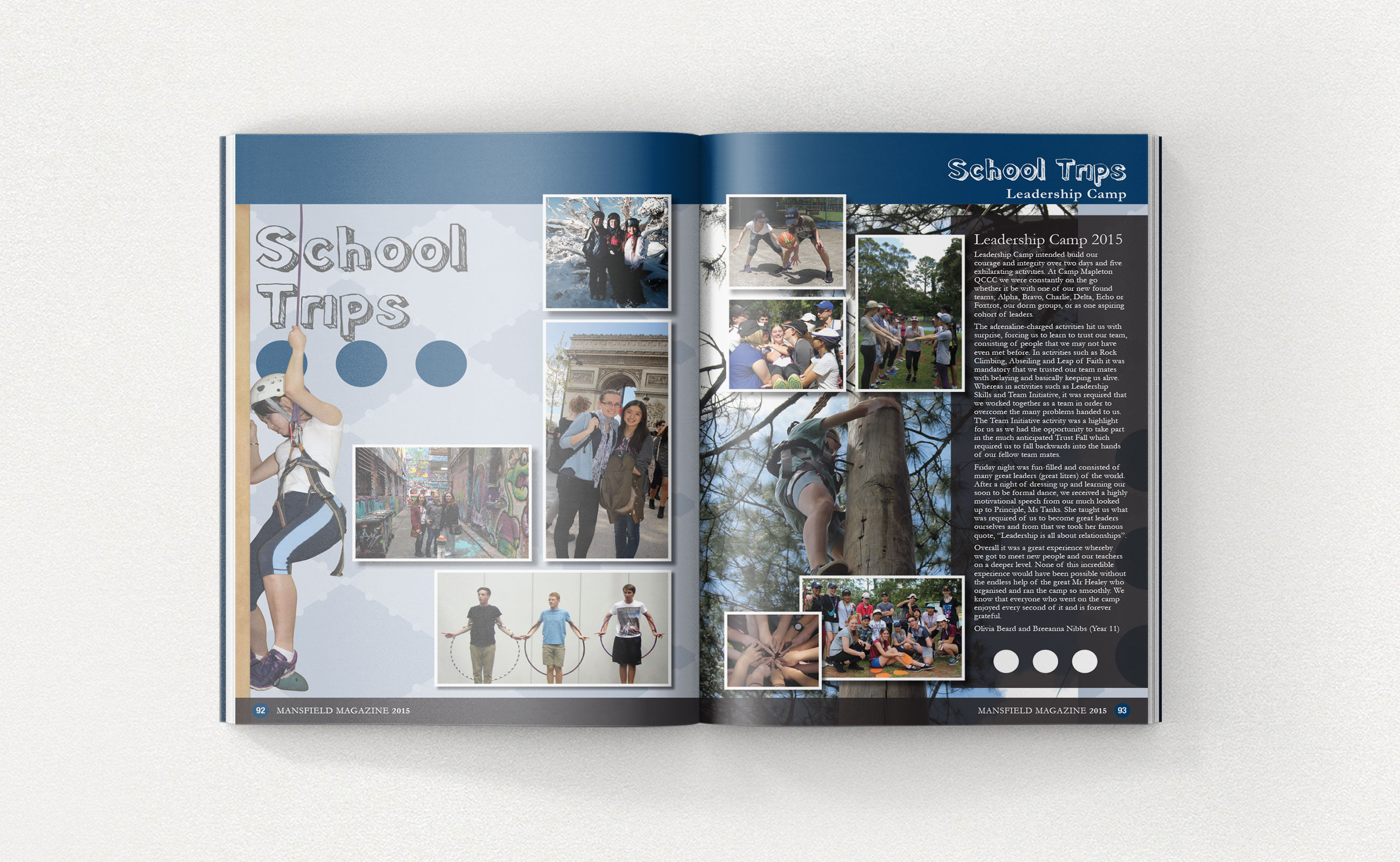 Inside pages of Mansfield school magazine