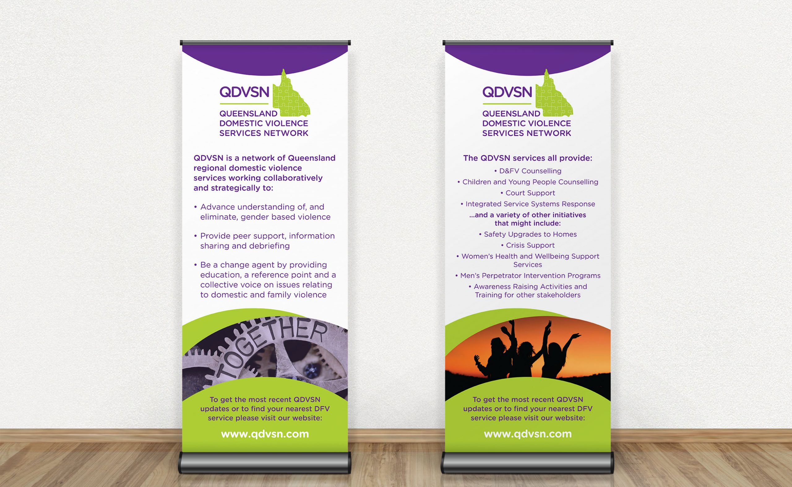 Two stand up banners advertising services of QDVSN