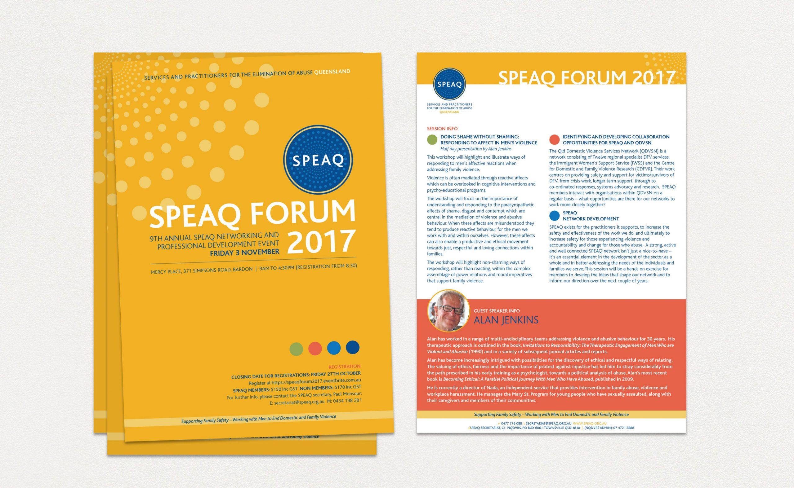 SPEAQ flyer front and back views